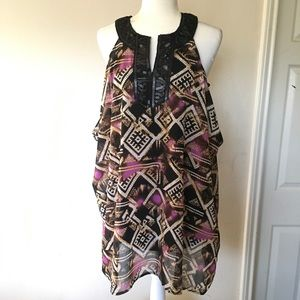 NWOT ALFANI women 8 beaded lagenlook tunic blouse